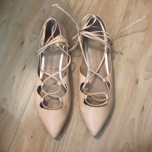 Banana Republic Lace Up Pointed Toe Flats 8.5